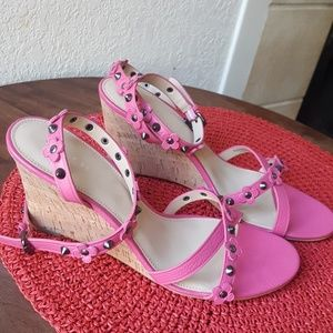 Coach strappy studded wedge heels. Size 10 EUC